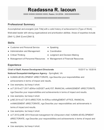 Chief Of Staff resume format Virginia