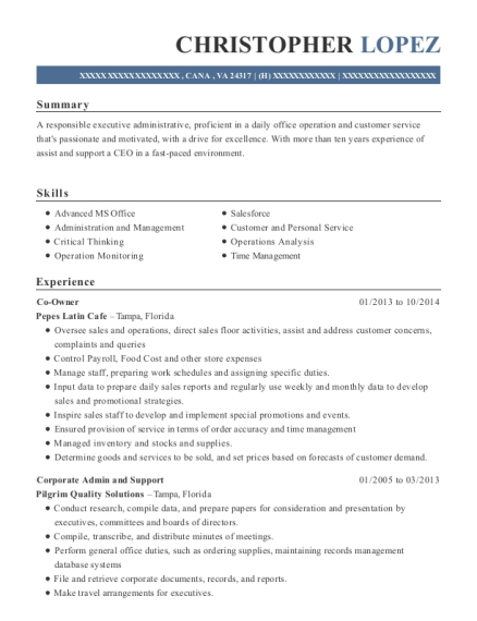 Co Owner resume format Virginia
