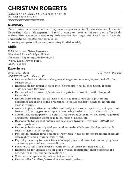 Staff Accountant resume sample Virginia