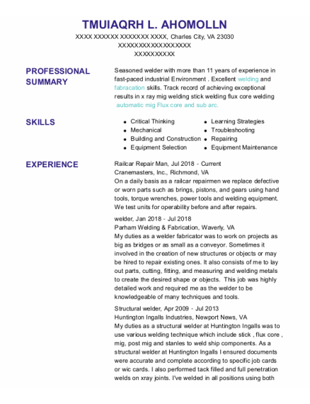 welder resume format Virginia