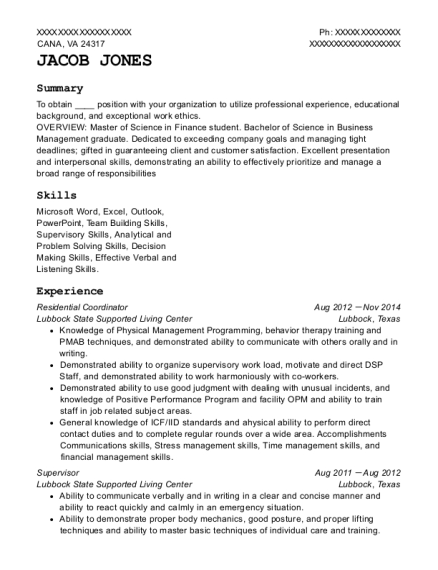 Residential Coordinator resume example Virginia