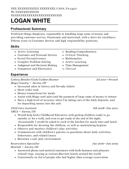 Lottery Retailer resume template Virginia