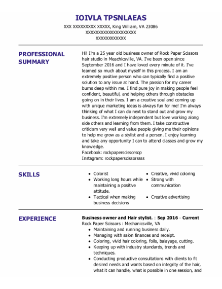 hairstylist resume template Virginia