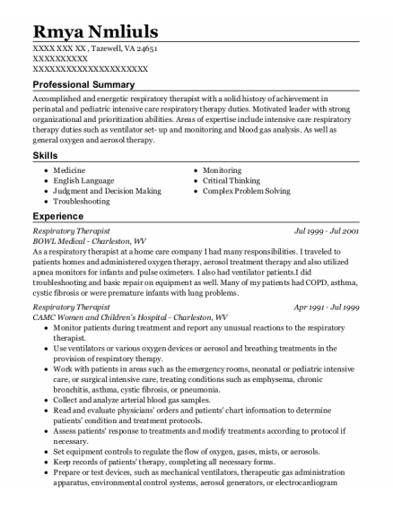 Respiratory Therapist resume sample Virginia