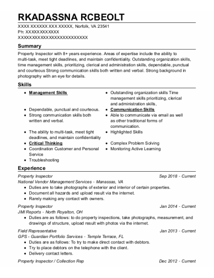 Field Representative resume example Virginia