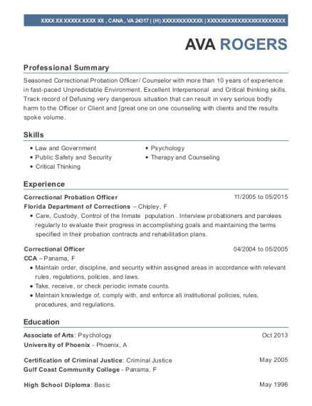 Correctional Probation Officer resume template Virginia