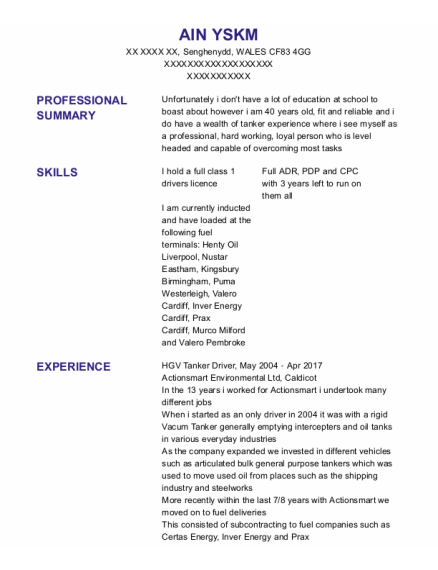 Hgv Tanker Driver resume template WALES