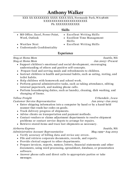 Stay at Home Mom resume template Washington