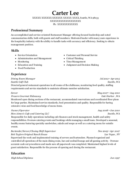 Dining Room Manager resume template Washington