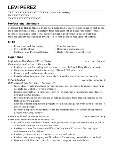 Professional Healthcare Biller II resume sample Washington
