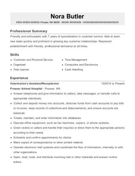 Veterinarians Assistant resume format Washington