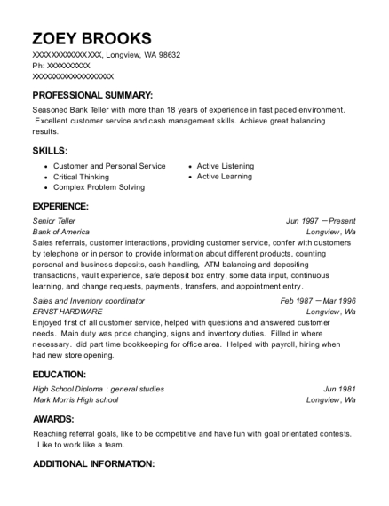 Senior Teller resume template Washington