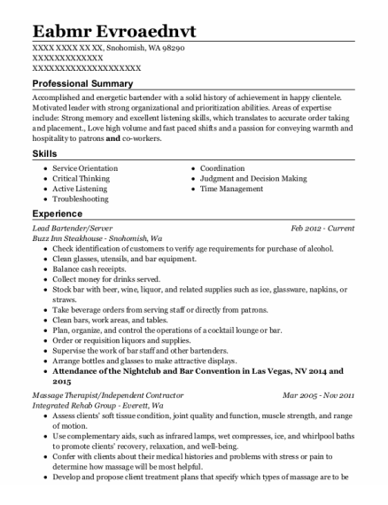 Lead Bartender resume sample Washington