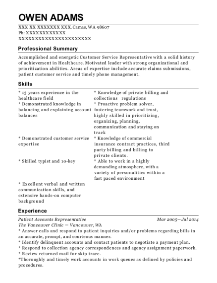 Patient Accounts Representative resume format Washington