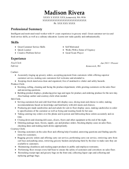 Food Clerk resume format Washington