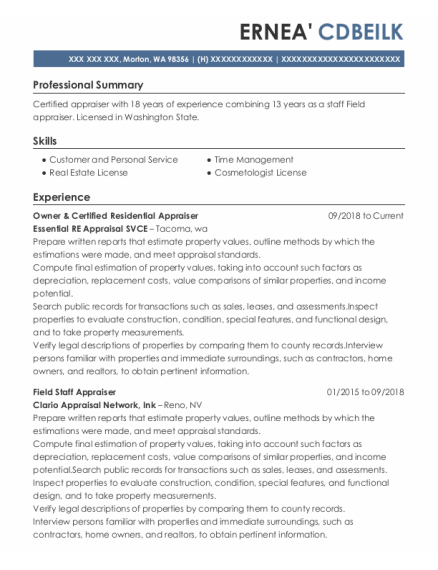 Corelogic Staff Appraiser Resume Sample - Morton Washington