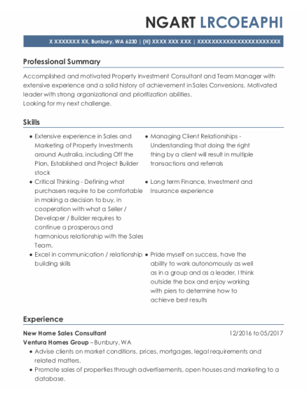 Managing Director resume sample Washington