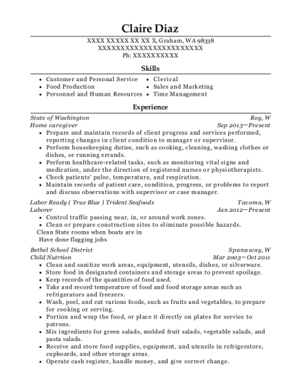 Home caregiver resume template Washington