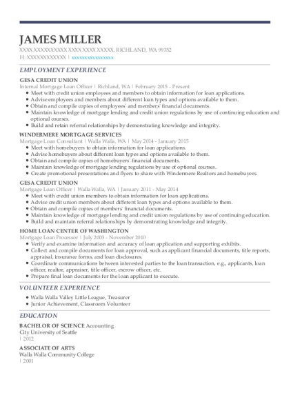 Internal Mortgage Loan Officer resume template Washington