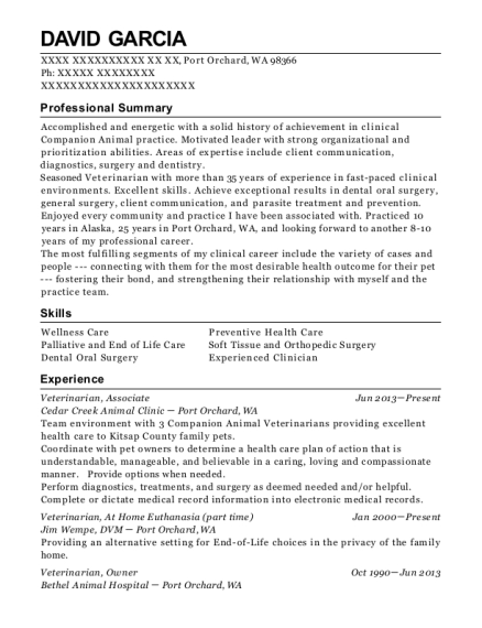 Veterinarian resume example Washington