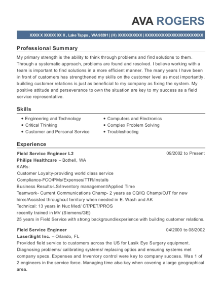 Field Service Engineer L2 resume template Washington
