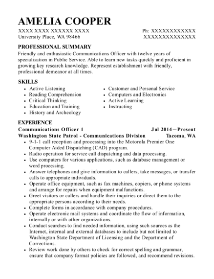 Communications Officer 1 resume template Washington