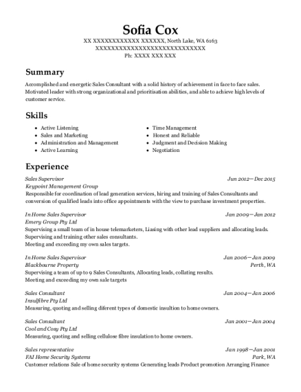 Sales Supervisor resume format Washington