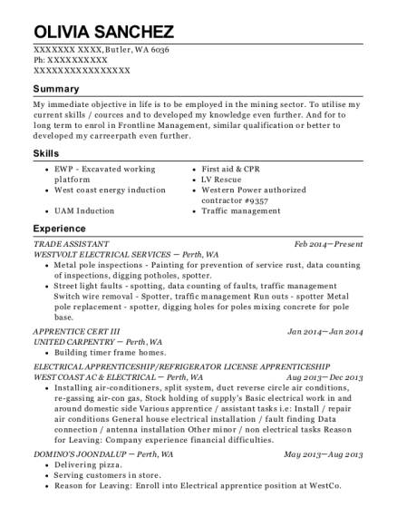 TRADE ASSISTANT resume template Washington