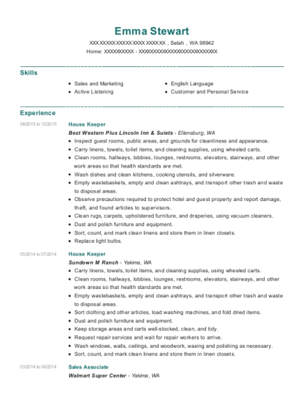 House Keeper resume template Washington