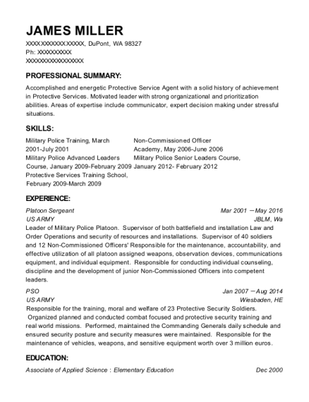 Platoon Sergeant resume example Washington