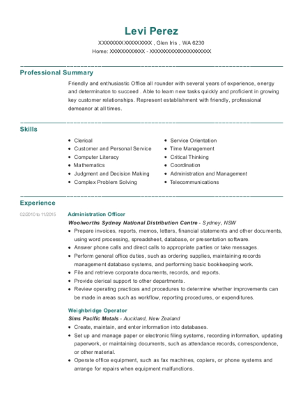 Administration Officer resume format Washington