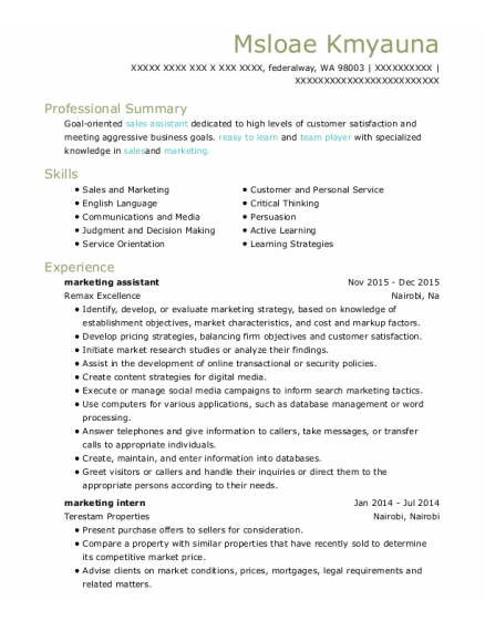 Marketing Assistant resume template Washington