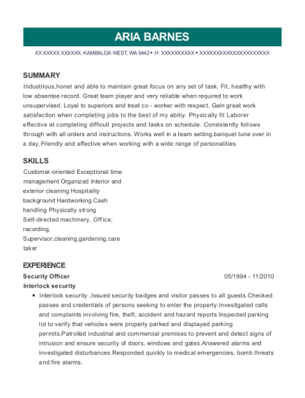 Security Officer resume template Washington