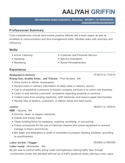 Newspapers delivery resume example Washington