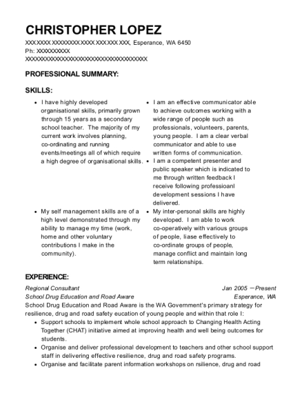Regional Consultant resume format Washington