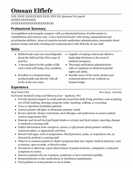 Med Tech resume example Washington