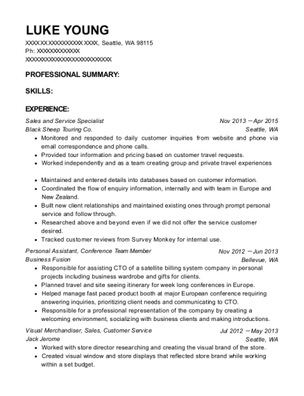 Sales and Service Specialist resume example Washington