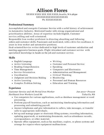Customer Service and 7th Period Iron Worker resume example Washington