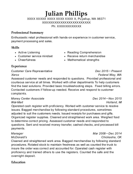 Customer Care Representative resume sample Washington