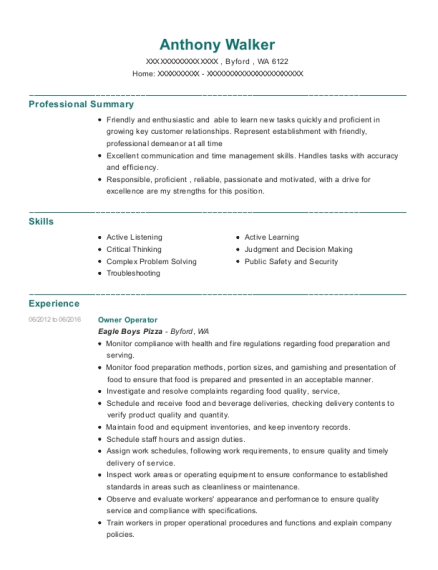 Owner Operator resume example Washington