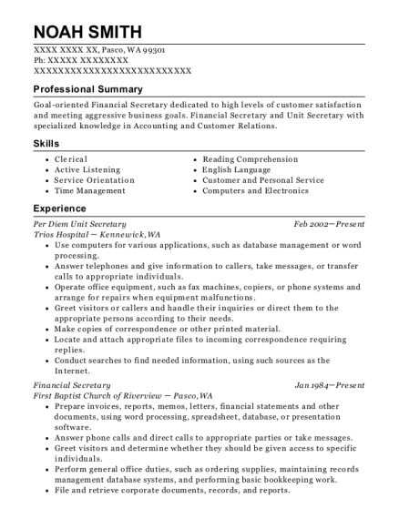 Per Diem Unit Secretary resume template Washington