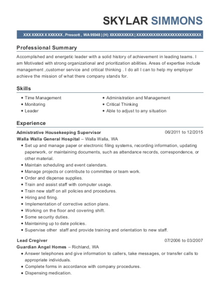 Admistrative Housekeeping Supervisor resume template Washington