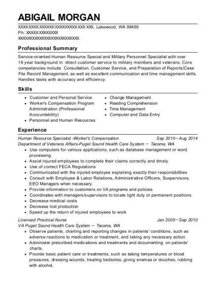 Human Resource Specialist Workers Compensation resume format Washington