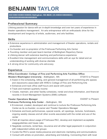 Office Coordinator College of Fine and Performing Arts Facilities Office resume example Washington