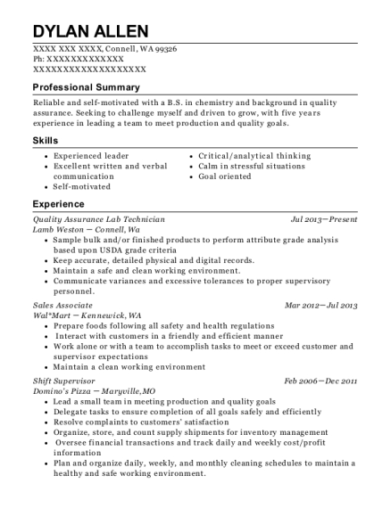 Quality Assurance Lab Technician resume template Washington