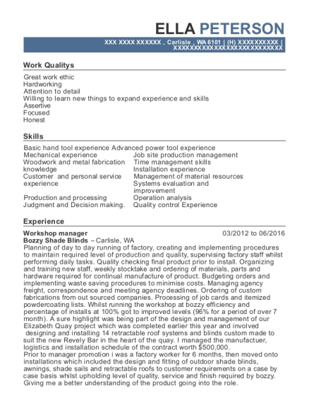 Workshop manager resume template Washington