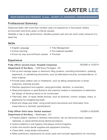 Petty officer second class Hospital Corpsman resume template Washington