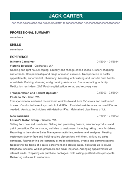 In Home Caregiver resume example Washington