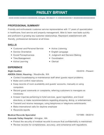 Night Auditor resume format Washington