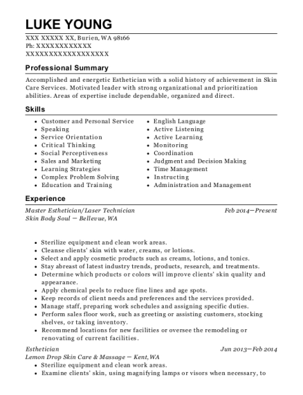 Master Esthetician resume format Washington